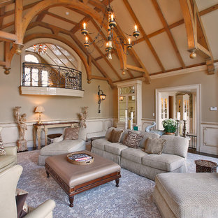 Example of a huge classic formal and enclosed living room design in New York with no tv