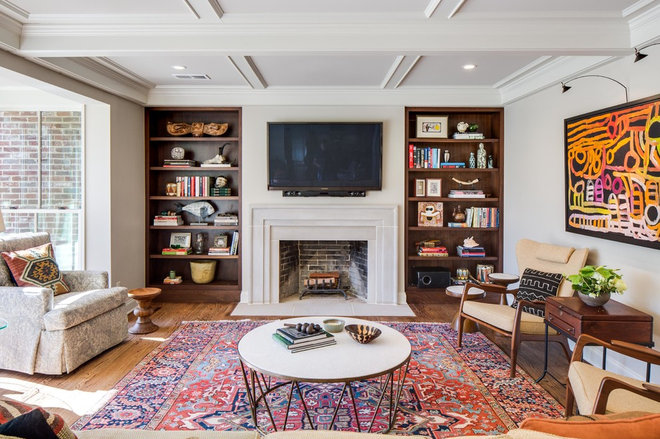 Transitional Living Room by John Harrison Jones, AIA Architect