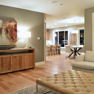 Idee per un soggiorno stile americano di medie dimensioni con pareti grigie, parquet chiaro, camino classico e cornice del camino in pietra