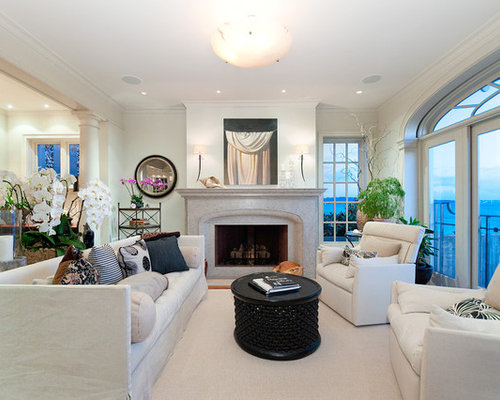 Example Of A Mid Sized Trendy Living Room Design In Vancouver With White  Walls And