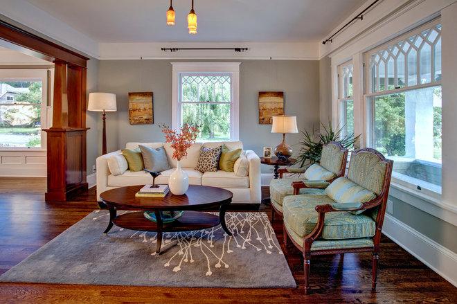 Craftsman Living Room by Kathryn Tegreene Interior Design
