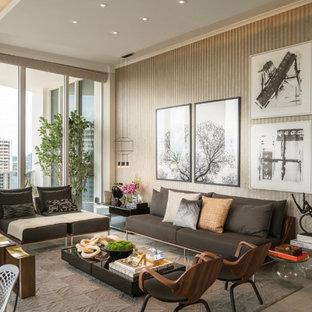Foto de salón para visitas abierto, contemporáneo, pequeño, sin televisor, con paredes beige