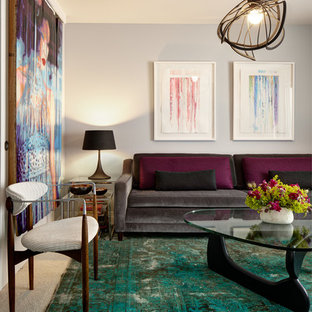 Inspiration for a small traditional enclosed living room in Seattle with grey walls and no fireplace.