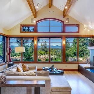 Immagine di un grande soggiorno contemporaneo con camino lineare Ribbon e nessuna TV