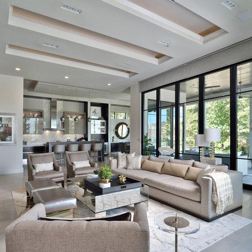 Large Trendy Open Concept Beige Floor Living Room Photo In Houston With Walls