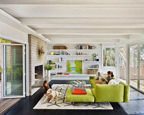 built in shelves living room. 1950s living room photo in San Francisco with a standard fireplace and no tv Built In Living Room Shelves  Houzz
