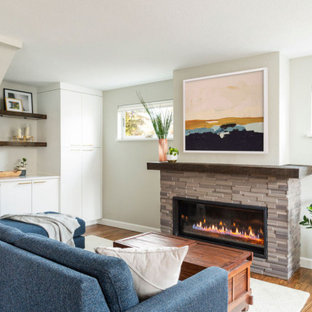 Medium sized nautical open plan living room in Denver with a reading nook, white walls, medium hardwood flooring, a standard fireplace, a stacked stone fireplace surround, brown floors and a vaulted ceiling.