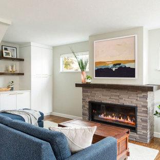 Mittelgroße, Offene Maritime Bibliothek mit weißer Wandfarbe, braunem Holzboden, Kamin, Kaminumrandung aus gestapelten Steinen, braunem Boden und gewölbter Decke in Denver