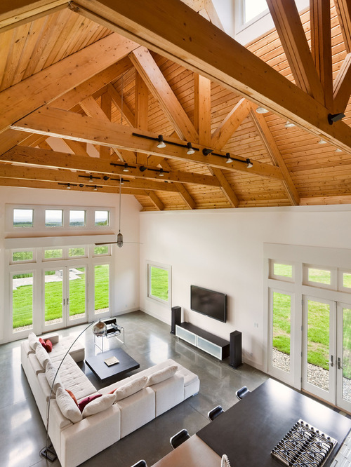 Track lighting on beams houzz for B q living room lights