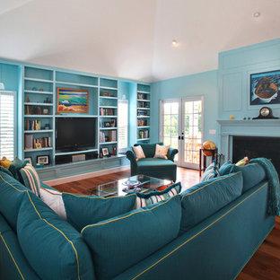 マイアミのトロピカルスタイルのおしゃれなリビング (青い壁、標準型暖炉、据え置き型テレビ) の写真