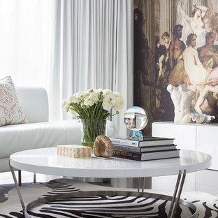Foto di un grande soggiorno eclettico aperto con sala formale, pareti multicolore, pavimento in gres porcellanato, nessun camino, TV nascosta e pavimento grigio