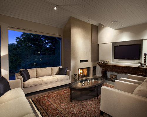 Large Trendy Living Room Photo In Vancouver With A Standard Fireplace And A  Wall Mounted