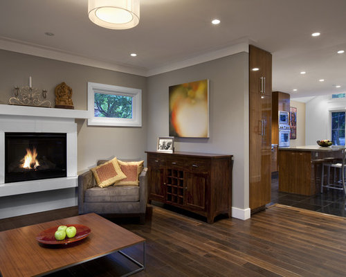 Wonderful Trendy Living Room Photo In Vancouver With Gray Walls And A Standard  Fireplace