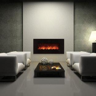 Foto di un soggiorno design di medie dimensioni con pareti beige, camino sospeso e pavimento beige