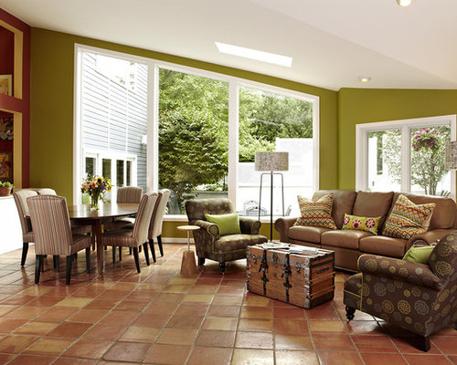 Living Room Design Ideas Renovations Photos With Terra Cotta Floors And Green Walls