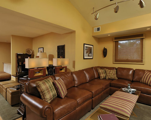 Caramel couch houzz for Traditional living room ideas with leather sofas