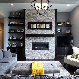 Traditional formal living room in Cedar Rapids with grey walls, dark hardwood flooring, a ribbon fireplace, a stone fireplace surround and a freestanding tv.