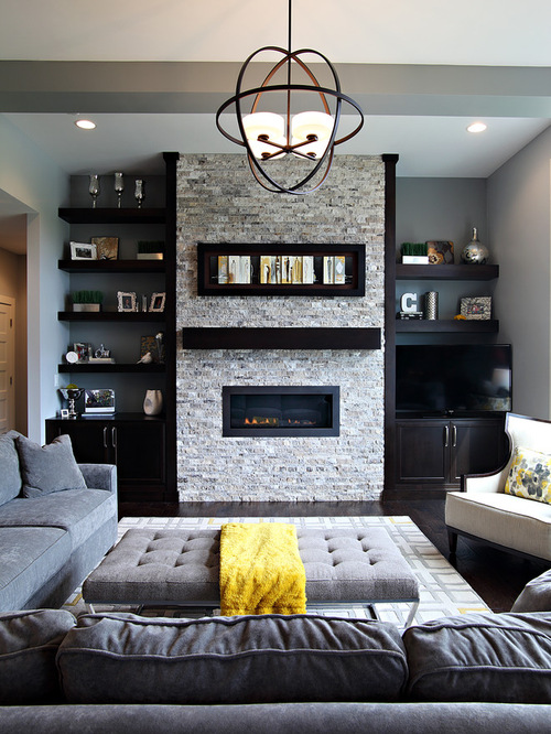 Built in gas heater and shelves houzz for B q living room shelves