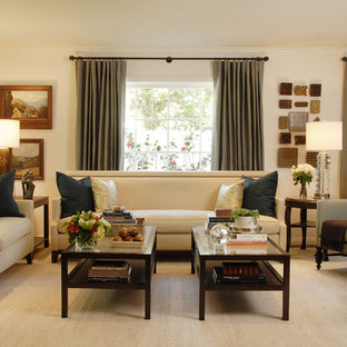Coffee Table Decor Inspiration For A Large Timeless Living Room Remodel In Los Angeles With Beige Walls