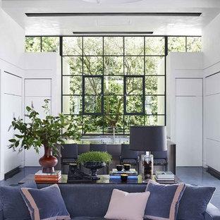 ロサンゼルスのトランジショナルスタイルのおしゃれなリビングのホームバー (スレートの床、白い壁、暖炉なし) の写真