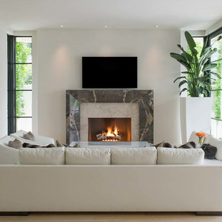 Mid-sized trendy open concept beige floor and light wood floor living room photo in Dallas with white walls, a standard fireplace, a stone fireplace and a wall-mounted tv
