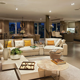 Design ideas for a contemporary formal open plan living room in London with beige walls.