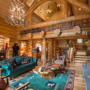 Design ideas for a rustic open plan living room in New York with medium hardwood flooring and brown walls.