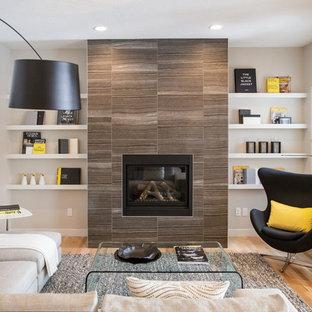 Living room - mid-sized scandinavian light wood floor and beige floor living room idea in Calgary with white walls