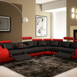 Black and Red Sectional Sofa With Adjustable Headrest - Features: