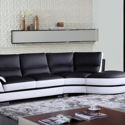 Black and White Bonded Leather Sectional Sofa - Features: