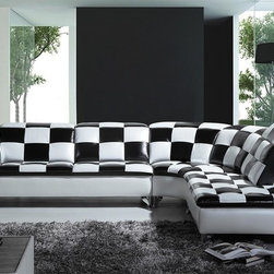Black and White Checkered Leather Sectional Sofa - Features: