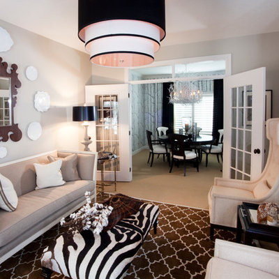 Example of an eclectic living room design in Other with gray walls
