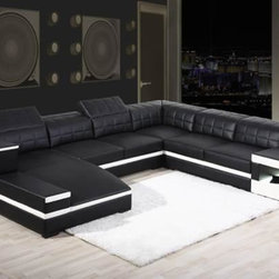 Black Bonded Leather Sectional Sofa with Adjustable Headrests - Features: