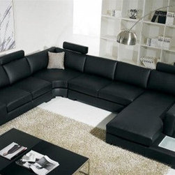 Black Bonded Leather Sectional Sofa with Light - Features: