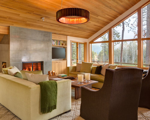 Inspiration For A Transitional Living Room Remodel In Portland With Concrete Fireplace Surround