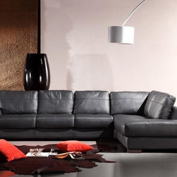 Black Leather Sectional Sofa in Genuine Leather - Features: