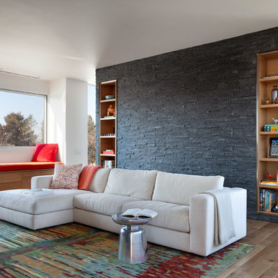Living room - contemporary living room idea in Providence with white walls