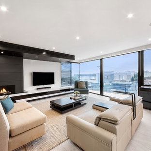 Inspiration for a contemporary living room in Melbourne.