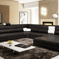 Black Sectional Set with 2 Decorative Lights with Adjustable Headrests - Features: