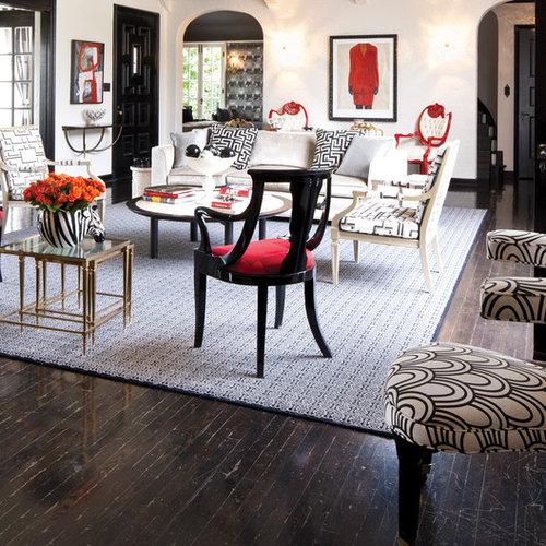 Example Of An Eclectic Dark Wood Floor Living Room Design In San Francisco