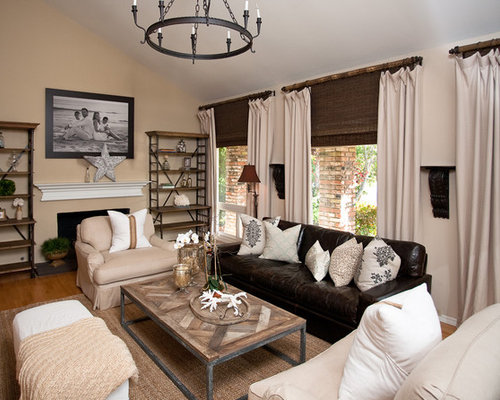 Leather couch living room houzz for Living room decor ideas houzz