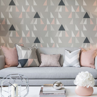 Inspiration for a contemporary living room in London with grey walls.