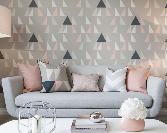 Grey And Pink Living Room Design Ideas Remodels Photos Houzz