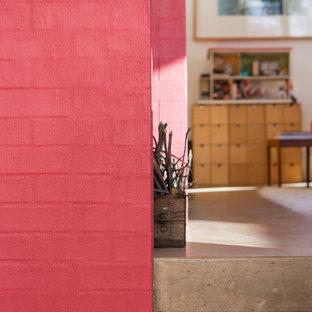 シドニーの小さいコンテンポラリースタイルのおしゃれなLDK (ピンクの壁、コンクリートの床、薪ストーブ、レンガの暖炉まわり) の写真