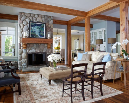 Large Rustic Open Concept Living Room Idea In Grand Rapids With Blue Walls A Stone