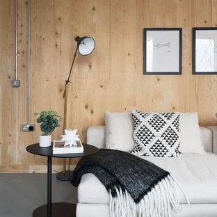 Ispirazione per un soggiorno contemporaneo con pareti beige e pavimento grigio