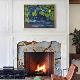 Eclectic dark wood floor living room photo in Minneapolis with white walls, a standard fireplace and a stone fireplace