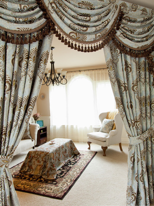 Bleu Fleurs De Lis Designer Swag Valance Window Treatment