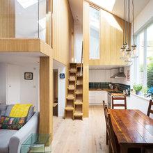 My Houzz: 元アトリエの天井高を活かした、宙に浮くボックス空間が心地よい家