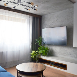 Foto di un piccolo soggiorno eclettico chiuso con sala formale, pareti blu, pavimento in laminato, camino bifacciale, cornice del camino in intonaco, TV a parete, pavimento marrone e soffitto ribassato